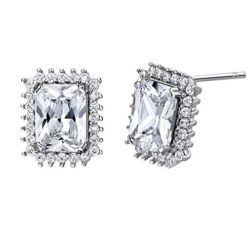 FENDINA Fashion Jewelry 18K White Gold Plated Stud EarringS Big Asscher Cut Bling CZ Stone Paved Created Diamond Earrings for Women Birthstone Series