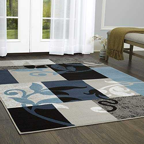 Home Dynamix Tremont Lane Frizzle Modern Area Rug, Geometric Navy/Gray 5'2