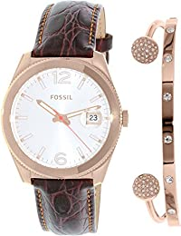 Fossil Women's Perfect Boyfriend ES3770SET Brown Leather Quartz Watch