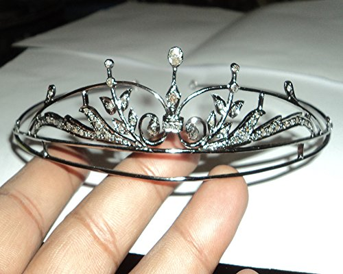 Rose Cut Diamond Tiara - Wedding Rose Cut Diamond Crown - 925 Sterling Silver Tiara Crown - Diamond 925 Silver Tiara - Handmade Tiara - Hair Jewelry by Vinita Jewels