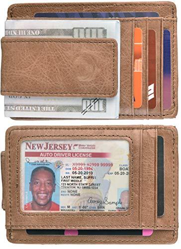 Mens Money Clip Wallet RFID Slim Wallet Genuine Leather Thin Front Pocket Wallet (B Vintage Oil Light Brown) ()