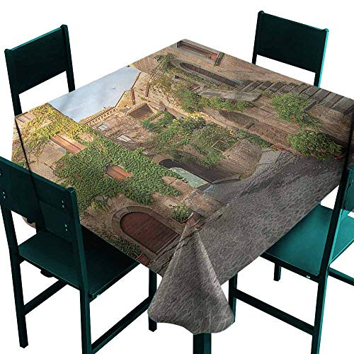 (DONEECKL Washable Tablecloth Tuscan Burano Italy Village Houses Easy to Clean W36 xL36)