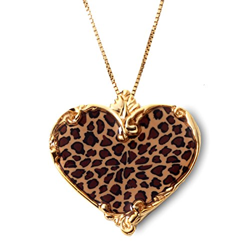 (Gold Plated Silver Heart Necklace Handmade Leopard Print Polymer Clay Jewelry, 16.5