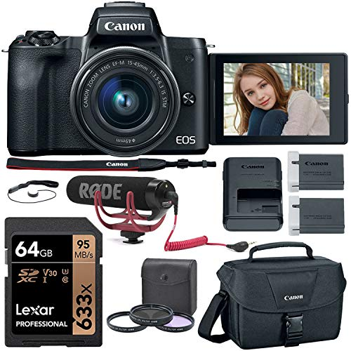 Canon EOS M50 Mirrorless Camera (Black) with 15-45mm Kit Lens, Rode VideoMic Go, Lexar 64GB Memory Card, Canon Camera Bag and More