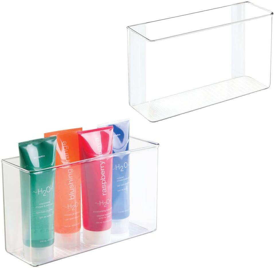 """mDesign Modern Plastic Adhesive Cabinet and Wall Mount Storage Organizer Bin for Bathroom, Vanity, Under Sink - Holds Body Wash, Shampoo, Lotion, Hair Brush, Hair Spray - 11"""" Wide, 2 Pack - Clear"""