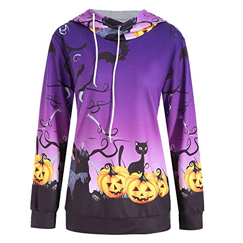 TWGONE Halloween Womens Tops Pumpkin Devil Sweatshirt Pullover Hoodie Blouse Shirt(US-8/CN-XL,Purple) -