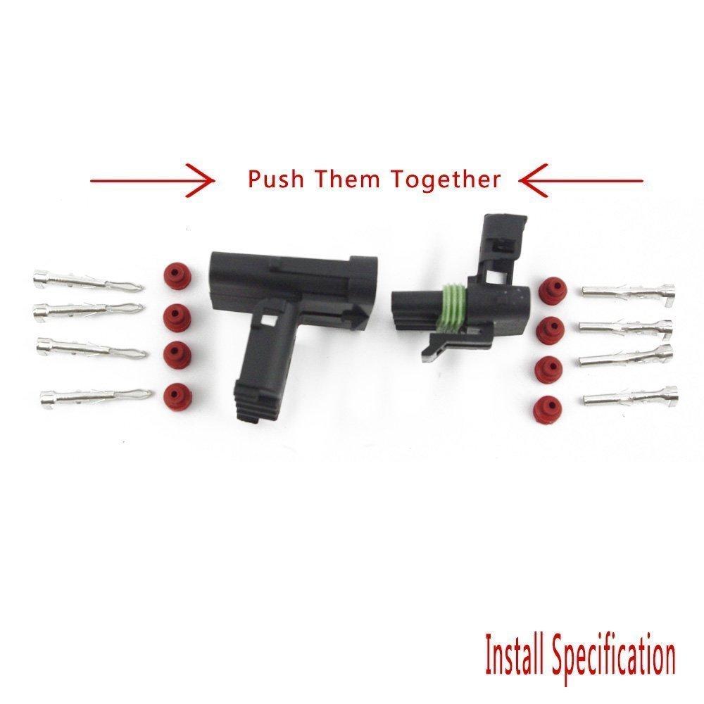 4 Pin Green Seal IMAGINE 10 Kit 4 Pin Conector El/éctrico Impermeable 1,5 mm Serie Terminales termoretr/áctil Quick Bloqueo Arn/és 20-14 AWG