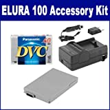 Canon Elura 100 Camcorder Accessory Kit includes: DVTAPE Tape/ Media, SDBP208 Battery
