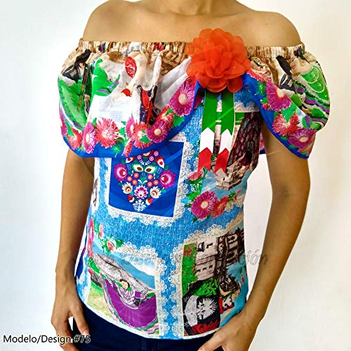 Cinco de Mayo Charro Day Mexican Peasant Blouse w/ Corsage & Mariachi Bow All Sizes -