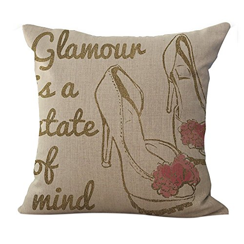 45*45cm Cotton Linen Cushion Pillowcase (High-heeled shoes) - 5