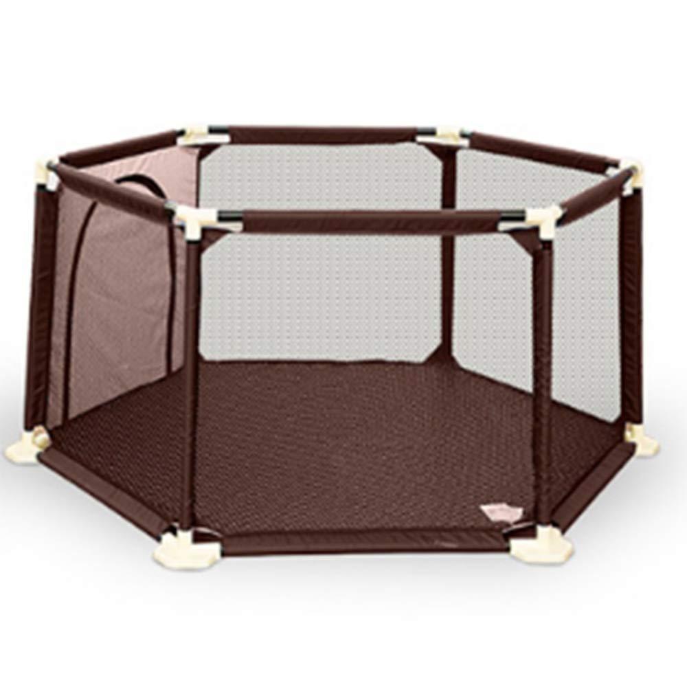 HUO 66センチメートル高いベビーABSのゲームフェンス折り畳み式ポータブル安全ガードレール(ブラウン、ブルー) (色 : Brown)  Brown B07LBD9ZK1