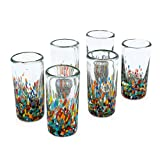 NOVICA Hand Blown Recycled Glass Confetti Shot Glasses, 2 oz 'Carnival' (set of 6)