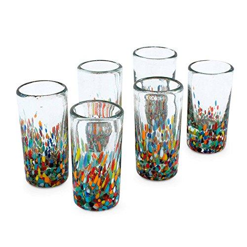 NOVICA Carnival' (Set of 6) Blown Shot Glasses