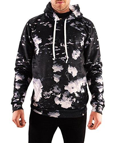 INTO THE AM Black Rose Long Sleeve All Over Print Hoodie Sweatshirt (Large) Fleece Microfiber Sweater