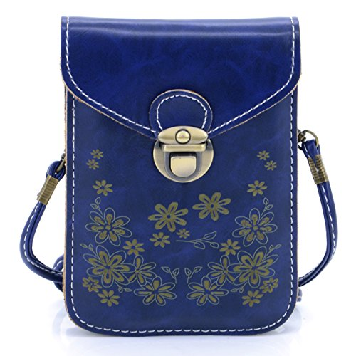 Formal Faux 4 Pattern (U-TIMES Women's Retro Flower Pattern Synthetic Leather Crossbody Shoulder Wallet Bag Cell Phone Pouch for iPhone 6/6S,6Plus/6S Plus,Note 5,Note 4,Galaxy S7,S7)