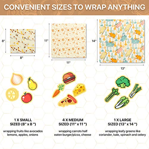 Reusable beeswax wraps for food Pack of 6, Zero Waste, Eco Friendly, Plastic Free, Sustainable, Food Storage, Washable Bees Wax Food Storage Wrappers Cling Sandwich, Fresh Design Beeswax Wrapping.