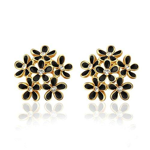 AmDxD Jewelry Silver Plated Stud Earrings for Women Flower 19X18MM