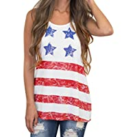 Hot ! New Fashion Women Striped Star America Flag Printed Vest, Ninasill Exclusive Top Sleeveless Blouse Tank Tops T-Shirt (L, White)