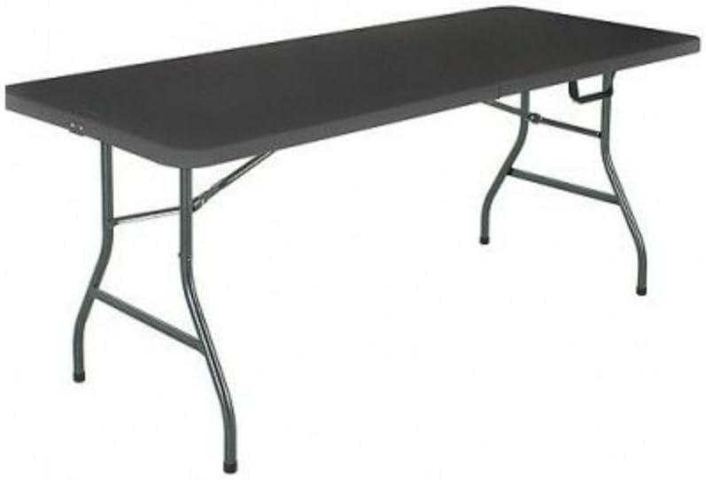 Mainstay 6' Centerfold Folding Table, White or Black (Black)