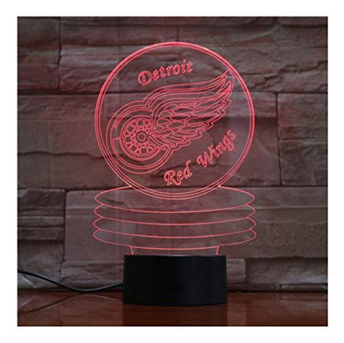 Detroit alas rojas Hockey led Lámpara 3D 7 colores cambiados ...