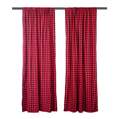 LGHome Buffalo Plaid Curtains Gingham/Check Pattern Panels, Set of 2, Black and Red, 53x84inch]()