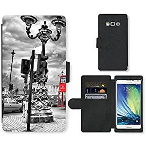PU Cuir Flip Etui Portefeuille Coque Case Cover véritable Leather Housse Couvrir Couverture Fermeture Magnetique Silicone Support Carte Slots Protection Shell // V00002682 London Bus en // Samsung Galaxy A7 (not fit S7)