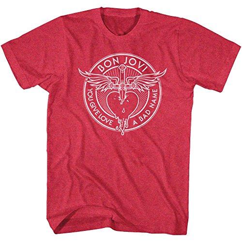 n Jovi Men's Bad Name T-Shirt X-Large Cherry Heather ()