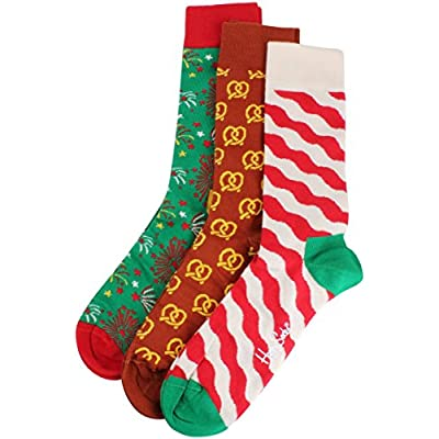 New Red/Brown/Green Christmas Holiday 3 Pack Gift Box Socks by Happy Socks supplier
