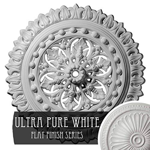"""18 1/2""""OD x 7/8""""ID x 1 1/2""""P Sellek Ceiling Medallion (Fits Canopies up to 1 1/8""""), Hand-Painted Ultra Pure White"""