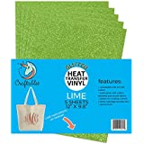 "(5) 12"" x 9.8"" Sheets Craftables Lime Glitter Heat Transfer Vinyl, HTV - Sparkling Easy to Weed Tshirt Iron on Vinyl for Silhouette Cameo, Cricut, all Craft Cutters. Ships Flat, Guaranteed Size"