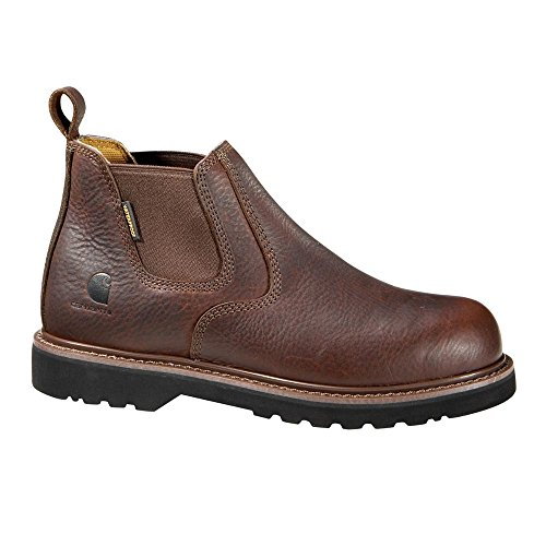 """Carhartt Men's 4"""" Romeo Waterproof Breathable Non Safety Toe Pull-On Boot CMS4100, Dark Brown Oil Tanned, 12 W US"""