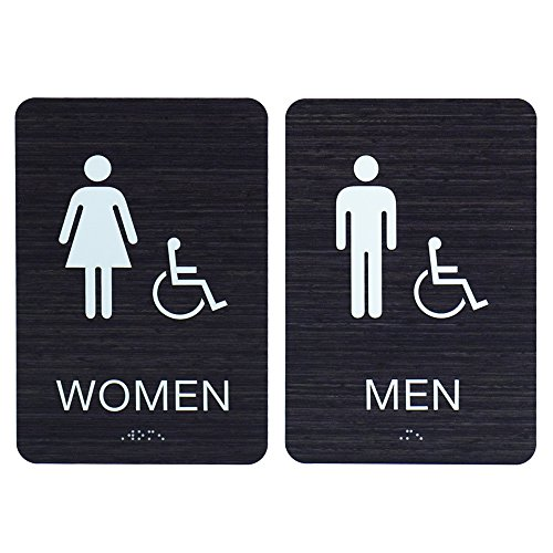 Men & Women ADA Restroom (Bathroom) Signs w/Braille (Modern Chic Dark Woodgrain) With double sided 3M tape - Made in (Contemporary Sign Men)