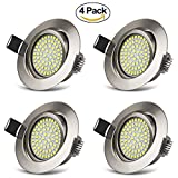LED Recessed Ceiling Lights Cool White 6000K Downlight Integrated Ultra Slim Spotlights 3.5W 400LM IP20 Protection Round Nickel for Living room Bedroom Kitchen (Pack of 4)