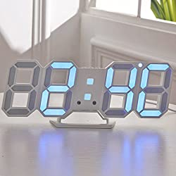 Yurieso 3D Digital Alarm Clock Wall Mount,USB Wall Clock Thermometer/Date,Simple Home Standing Desk Bed Bedside Smart LED Alarm Clock for Bedrooms/Women/Men Auto Dimmable 3 Brightness,12/24 Hrs,Snooze