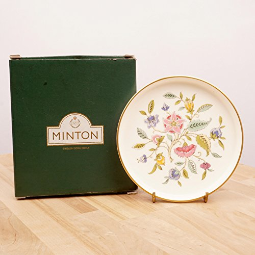 Restored by UKARETRO Floral Design Bottle Coaster/Dish/Plate/Small Serving Dish || Haddon Hall Round Tray Minton 1793 Made in England Bone China ()