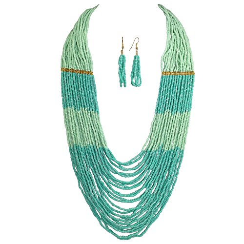Long BOHO Chic Multi Row Layered Seed Bead Statement Necklace and Dangle Earring Set (Mint Green Tones)