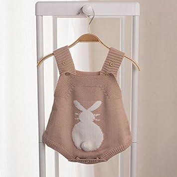 Zooarts recién Nacido bebé niñas Conejo de Punto Halter Body De Bebé Pelele Correa Mono Ropa Trajes de una Pieza (100 y # xFF08; 3 años), marrón: Amazon.es: ...