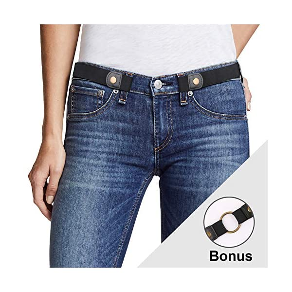 No Buckle Belt, JASGOOD Buckle Free Stretch Belt for Women and Men Jeans Pants