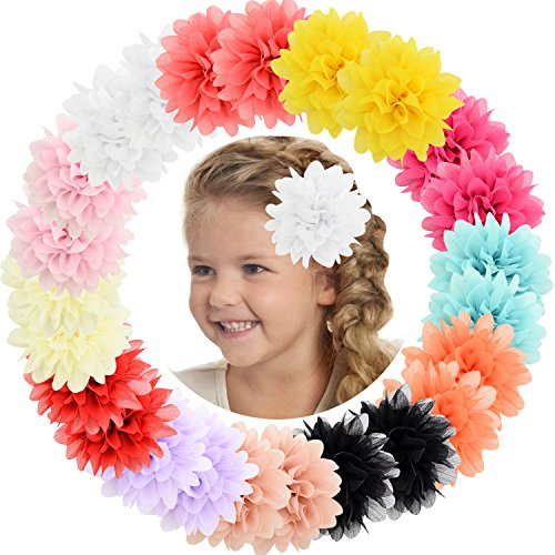 "ALinmo Baby Girls Clips 24pcs 3.5"" Chiffon Flower Clips Hair Barrettes Hair Pins Hair Accessories for Baby Girls Infants Teens Toddlers Kids Set of 12 Pairs from ALinmo"