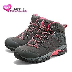 Clorts Women's Grey Suede Nubuck Leather Waterproof Trekking Hiking Boot HKM-822B US7.5