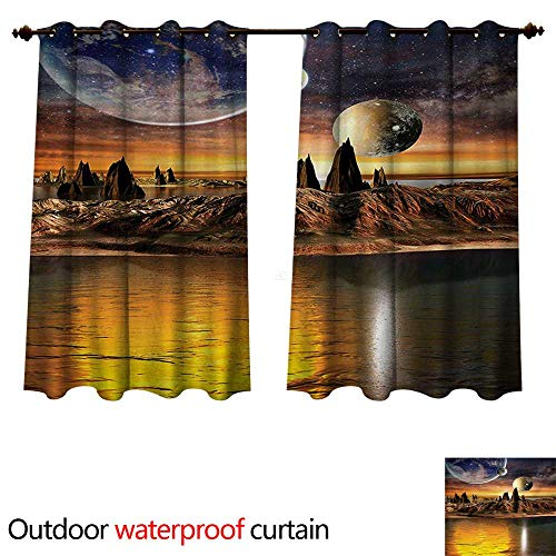 y Outdoor Ultraviolet Protective Curtains Alien Planet with Earth Moon and Mountain Fantasy Sci Fi Galactic Future Cosmos Art W63 x L63(160cm x 160cm) ()