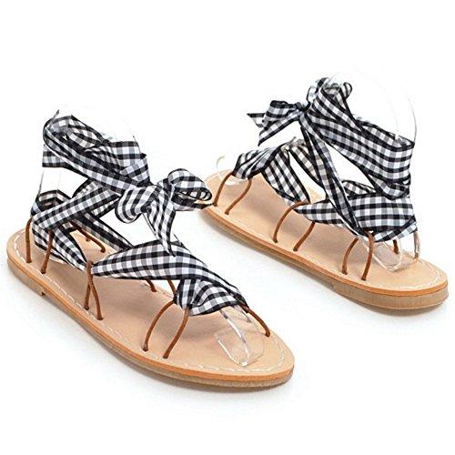 Chaussures Black 1 Femmes TAOFFEN Plates Sandales Axtwq1