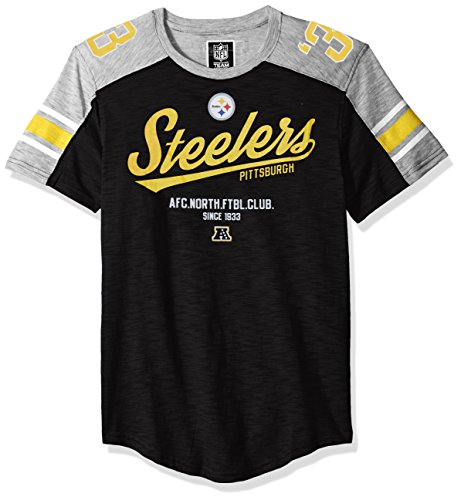 NFL Men's Pittsburgh Steelers T-Shirt Vintage Varsity Stripe Short Sleeve Tee Shirt, Large, - Steelers Jersey Football Pittsburgh Nfl