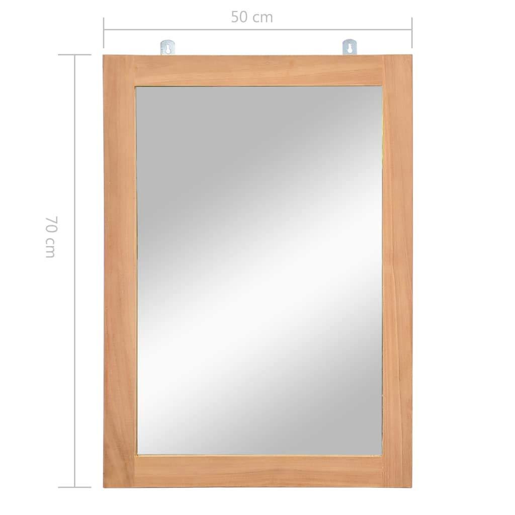 vidaXL Miroir Mural Teck Massif Salle de Bains Toilette Miroir de Maquillage
