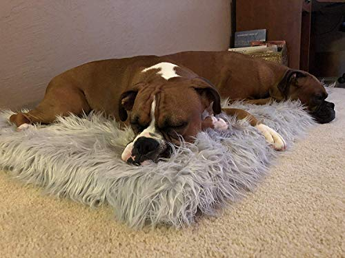 PupRug Faux Fur Memory Foam Orthopedic Dog Bed (Giant - 60'' L x 35'' W, Gray Rectangle) by Treat A Dog (Image #2)