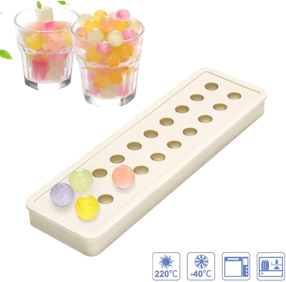 Silicone Ice Cube Moulds, Easy-Release Mini 20 Cavities DIY Ice Trays Sphere Round Ball Maker for Cocktails Whiskey Particles & Soap, Candy Pudding Jelly Milk Juice Molds