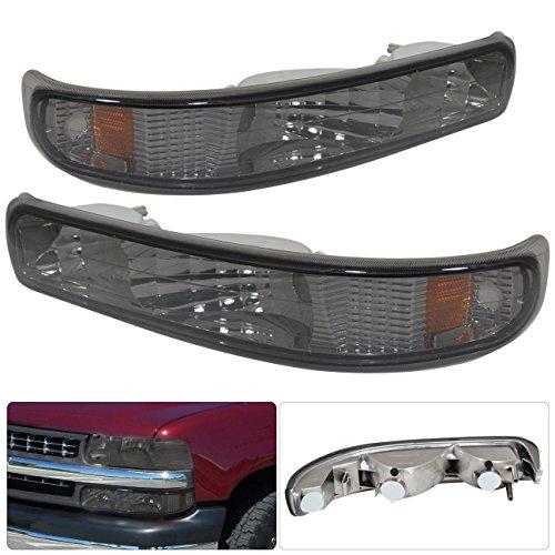 AJP Distributors Parking Signal Bumper Lights Lamps For Chevrolet Tahoe Silverado Suburban 1999 2000 2001 2002 2003 2004 2005 2006 99 00 01 02 03 04 05 06 (Chrome Housing Smoke Lens Amber Reflector)