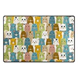 Top Carpenter Cute Animals Doodle Art Area Rug Pad - 31 x 20 inch - 100% Light Weight Polyester Fabric for Living - Bedroom