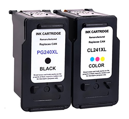 1 combo Remanufactured Ink Cartridge Replacement For Canon 240 xl PG 240XL & CL 241XL (1Black,1Color)With Ink Level Indicator Used In CANON PIXMA 2120 2220 3120 3220 4120 4220 MX372 432 512