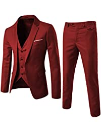 b65a539534b Men s 3 Pieces Suit Elegant Solid One Button Slim Fit Single Breasted Party Blazer  Vest Pants